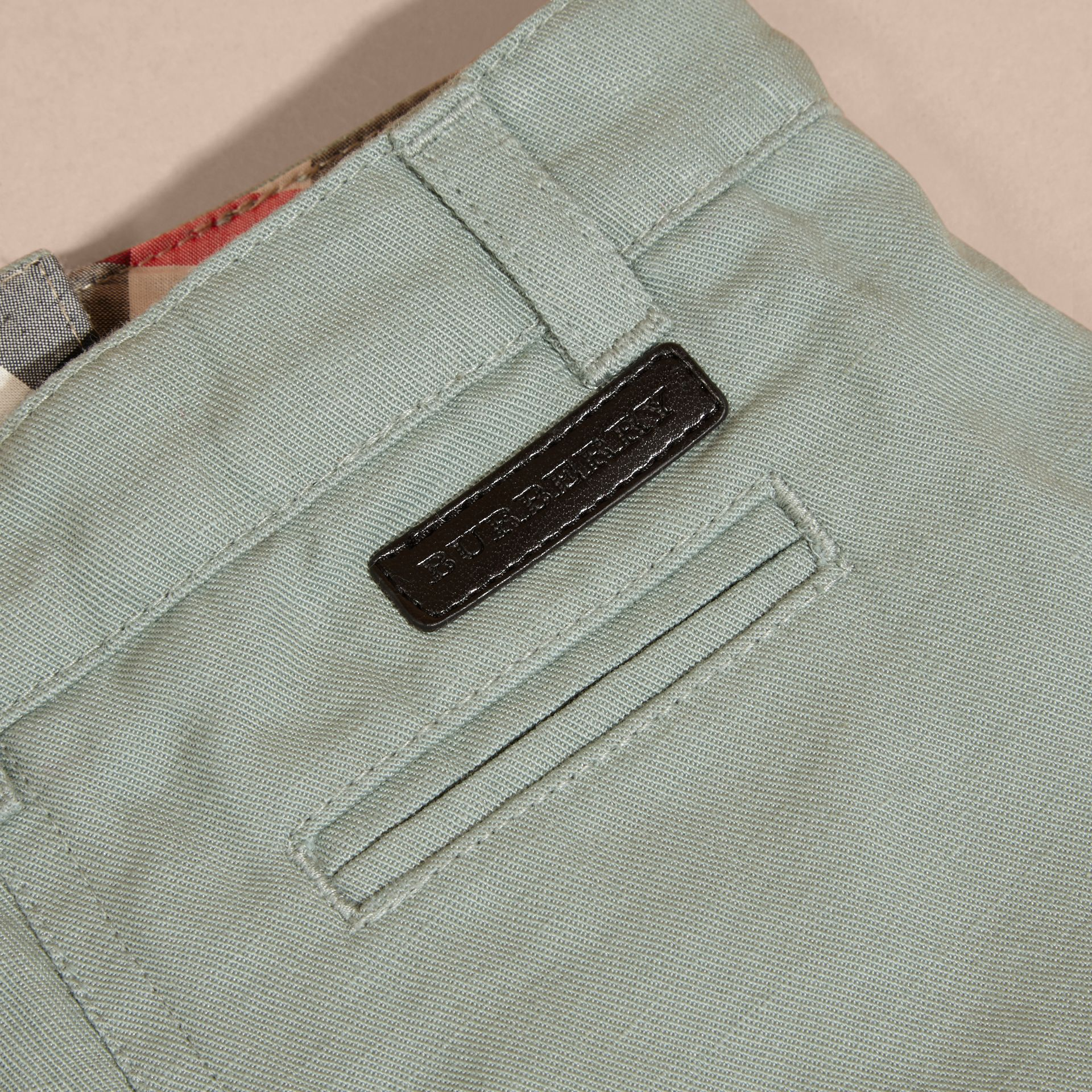 Pale eucalyptus Button Detail Cotton and Linen Shorts - gallery image 2