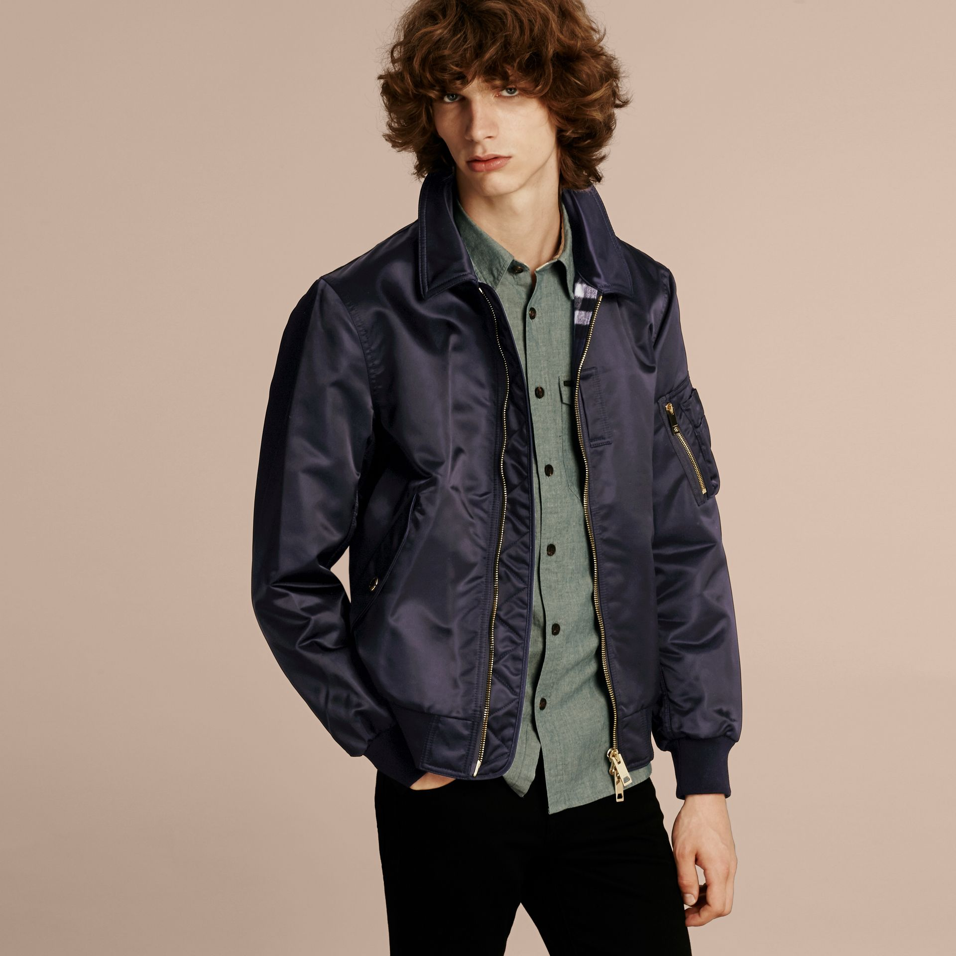 Satin Bomber Jacket with Check Undercollar Navy - gallery image 7