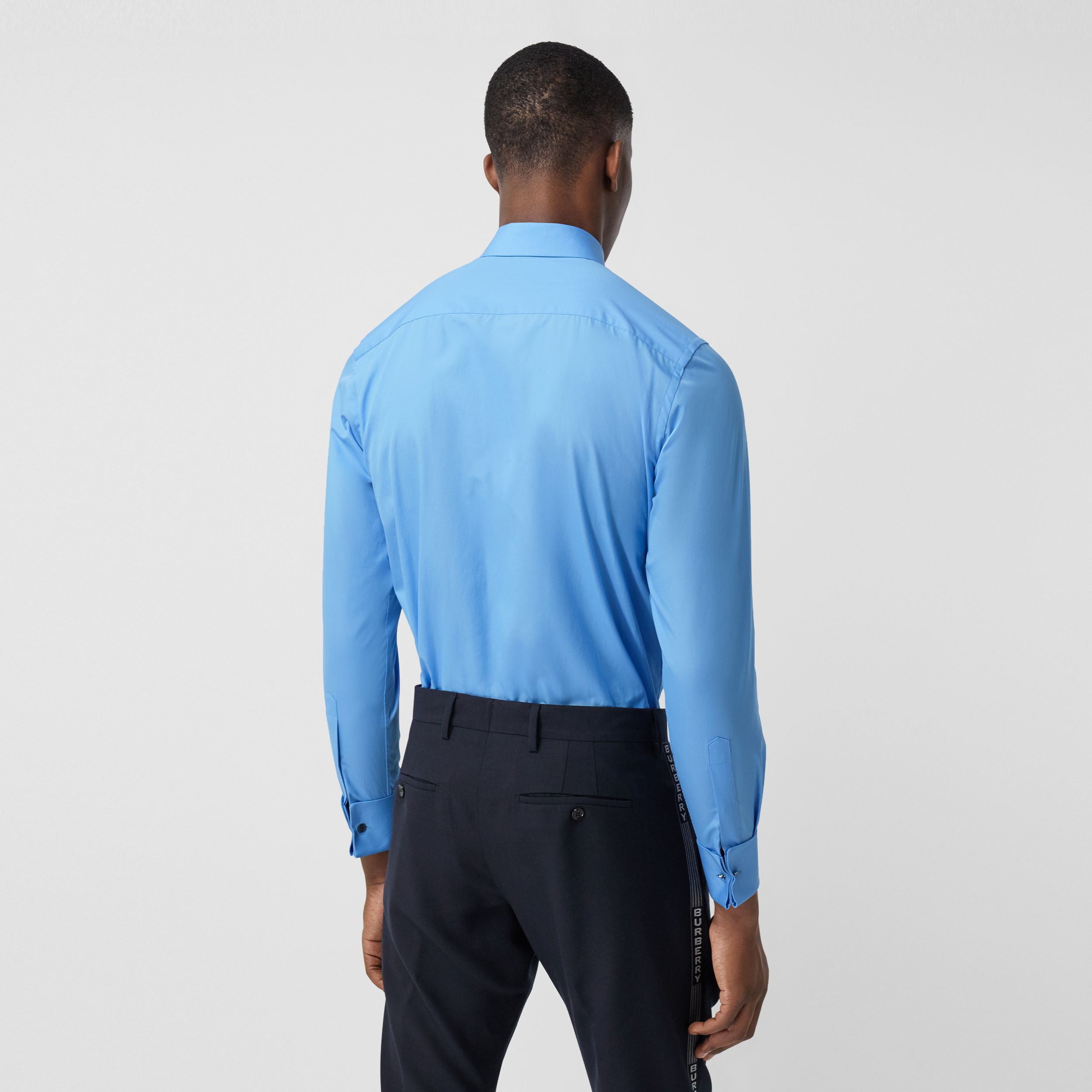 Slim Fit Bib Detail Cotton Poplin Dress Shirt in Mid Blue - Men | Burberry - 3