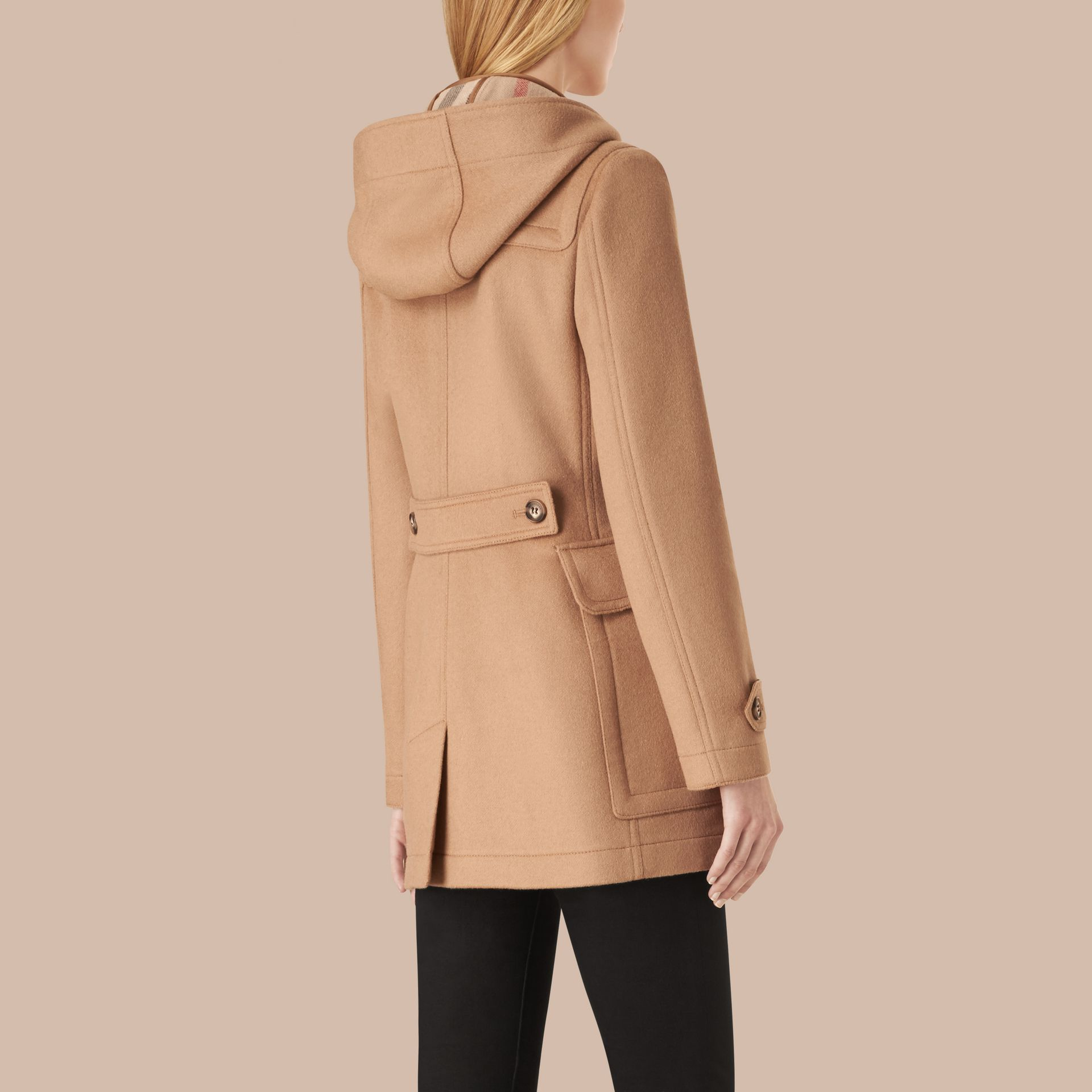 Fitted Wool Duffle Coat in New Camel - gallery image 3