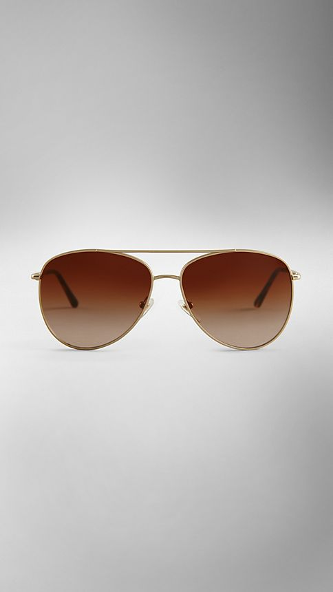 Pale gold Check Arm Aviator Sunglasses - Image 2