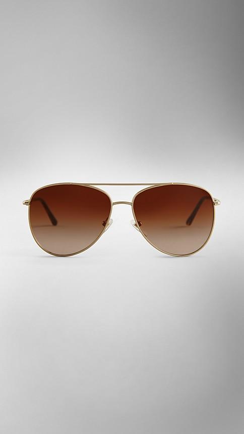Pale gold Check Arm Aviator Sunglasses - Image 2