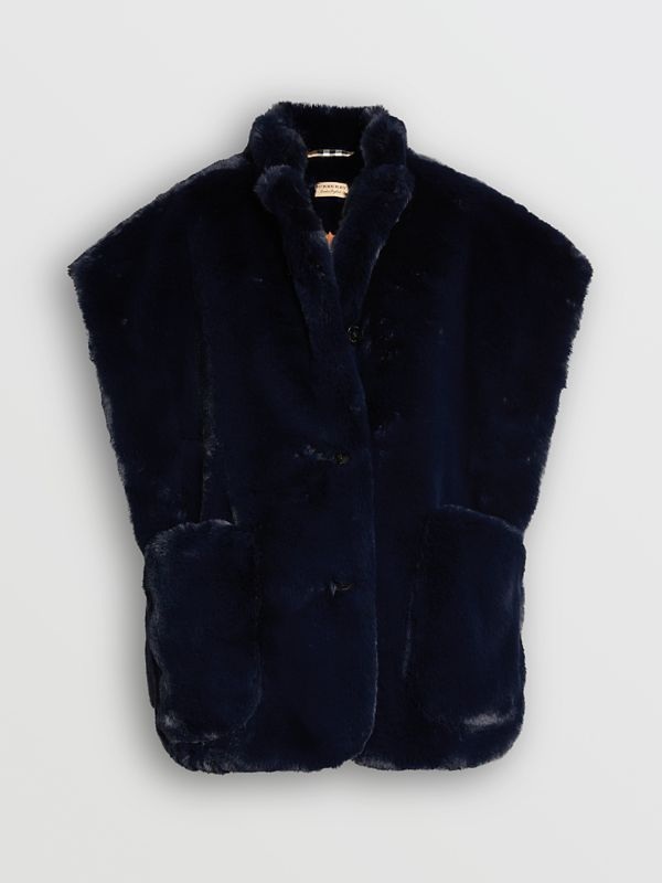 Stand Collar Faux Fur Cape in Navy - Women | Burberry - cell image 3