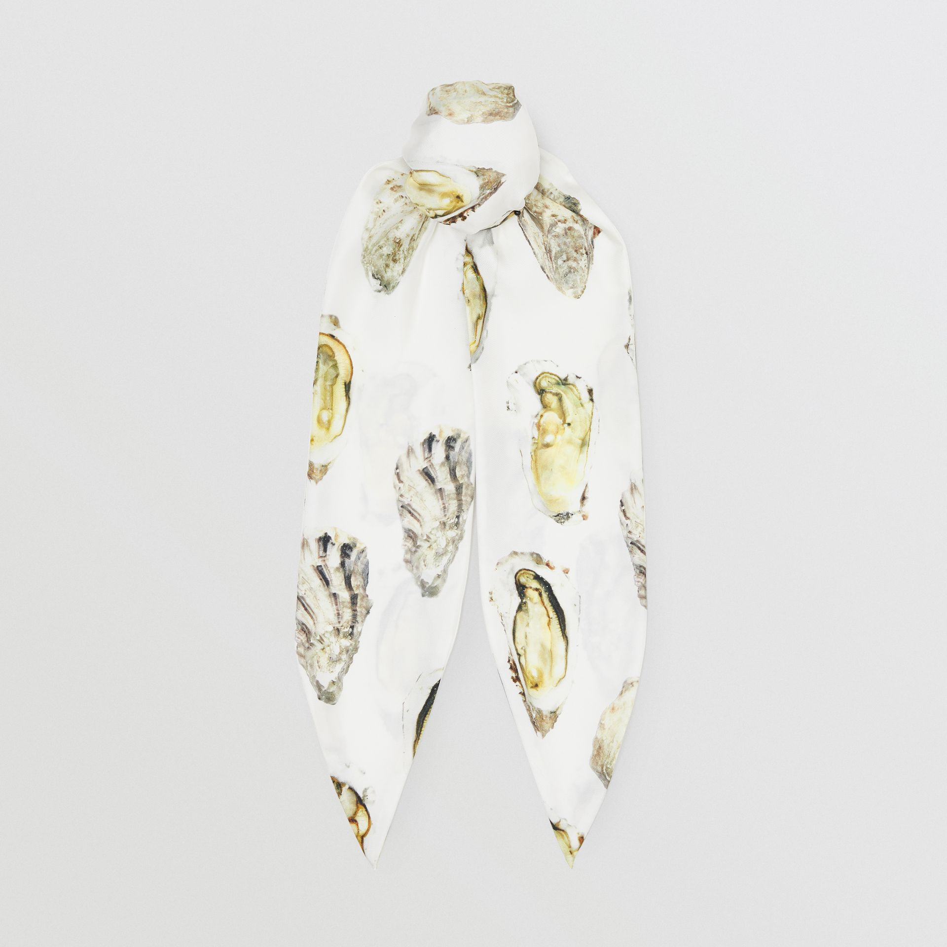 Oyster Print Silk Hair Scarf in White | Burberry - gallery image 0