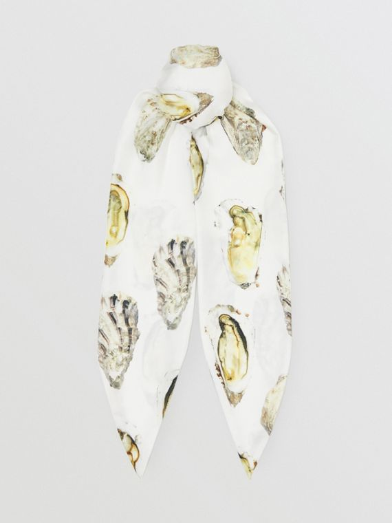 Oyster Print Silk Hair Scarf in White