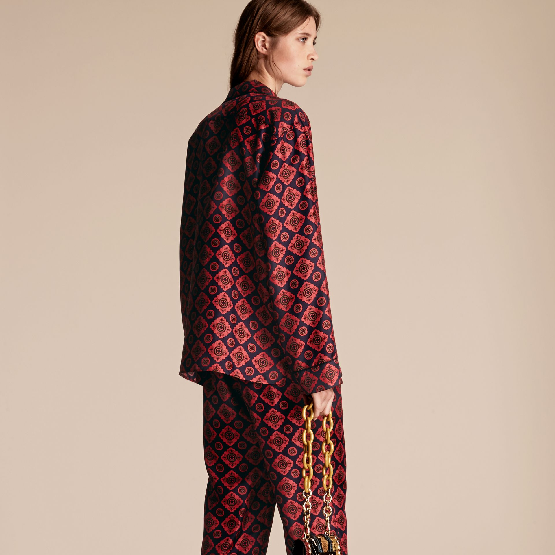 Geometric Tile Print Silk Pyjama-style Shirt - gallery image 3