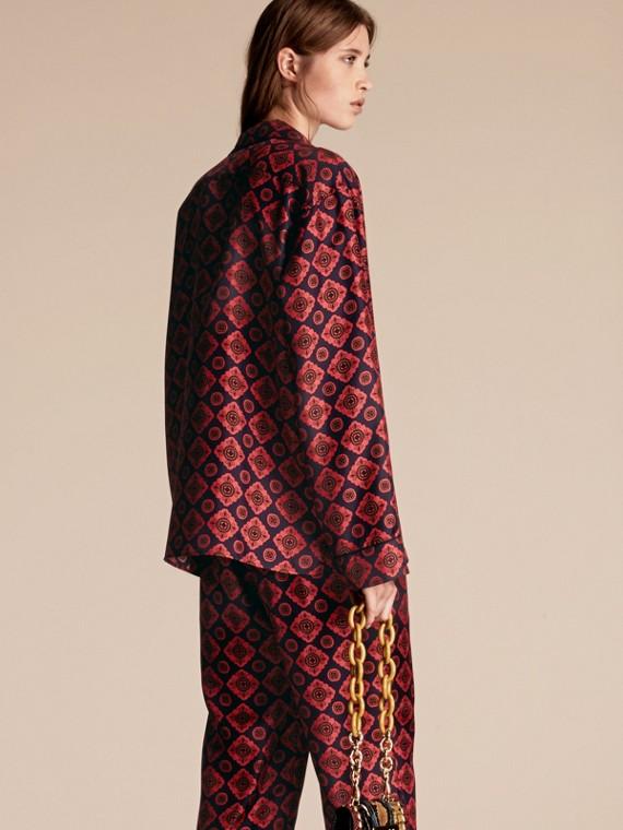 Geometric Tile Print Silk Pyjama-style Shirt - cell image 2