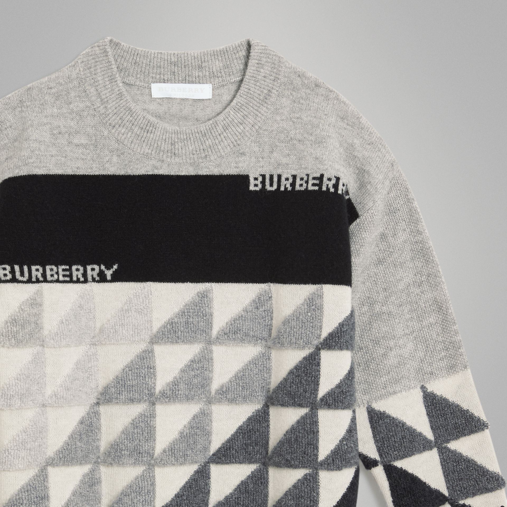 Logo Intarsia Cashmere Sweater in Grey Melange | Burberry - gallery image 5
