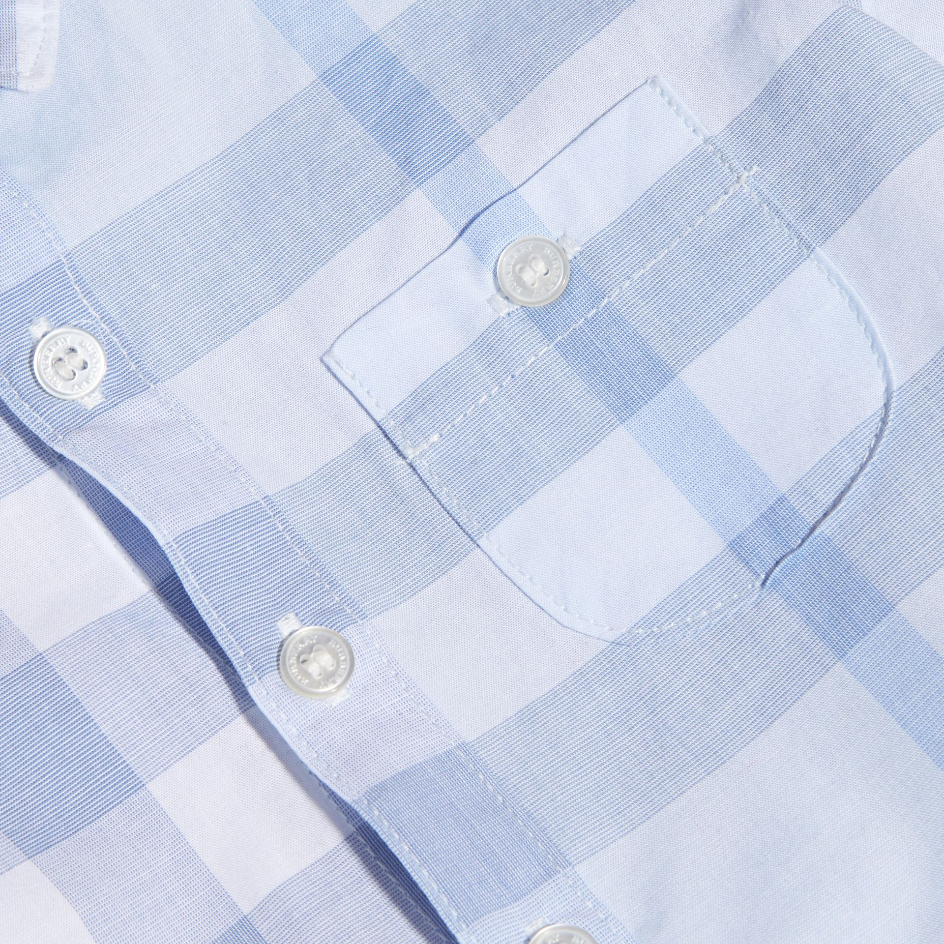 Washed Check Cotton Shirt Ice Blue - gallery image 2