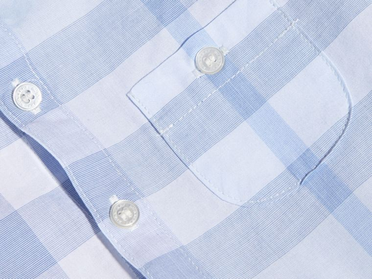 Washed Check Cotton Shirt Ice Blue - cell image 1