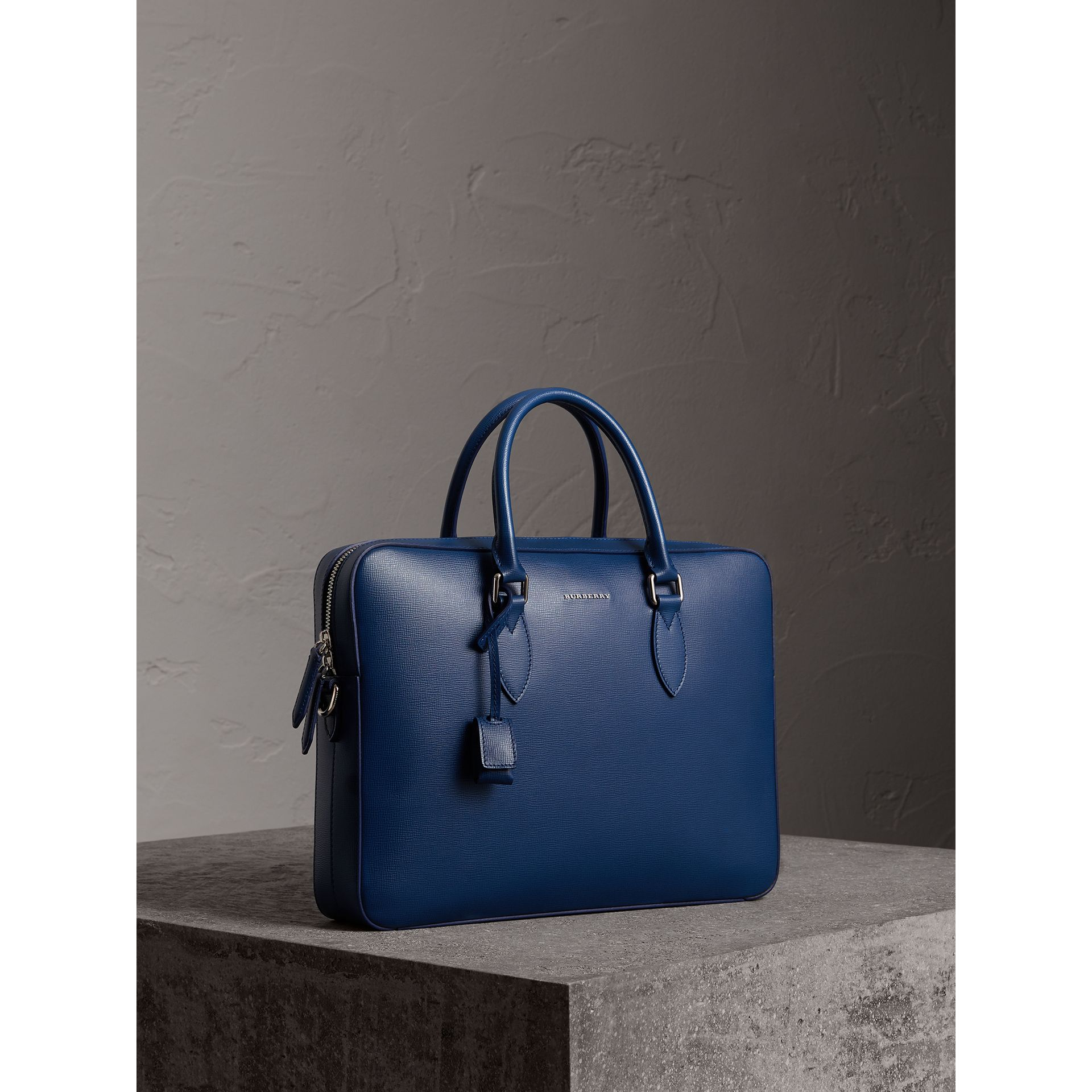 London Leather Briefcase in Deep Blue - Men | Burberry - gallery image 6