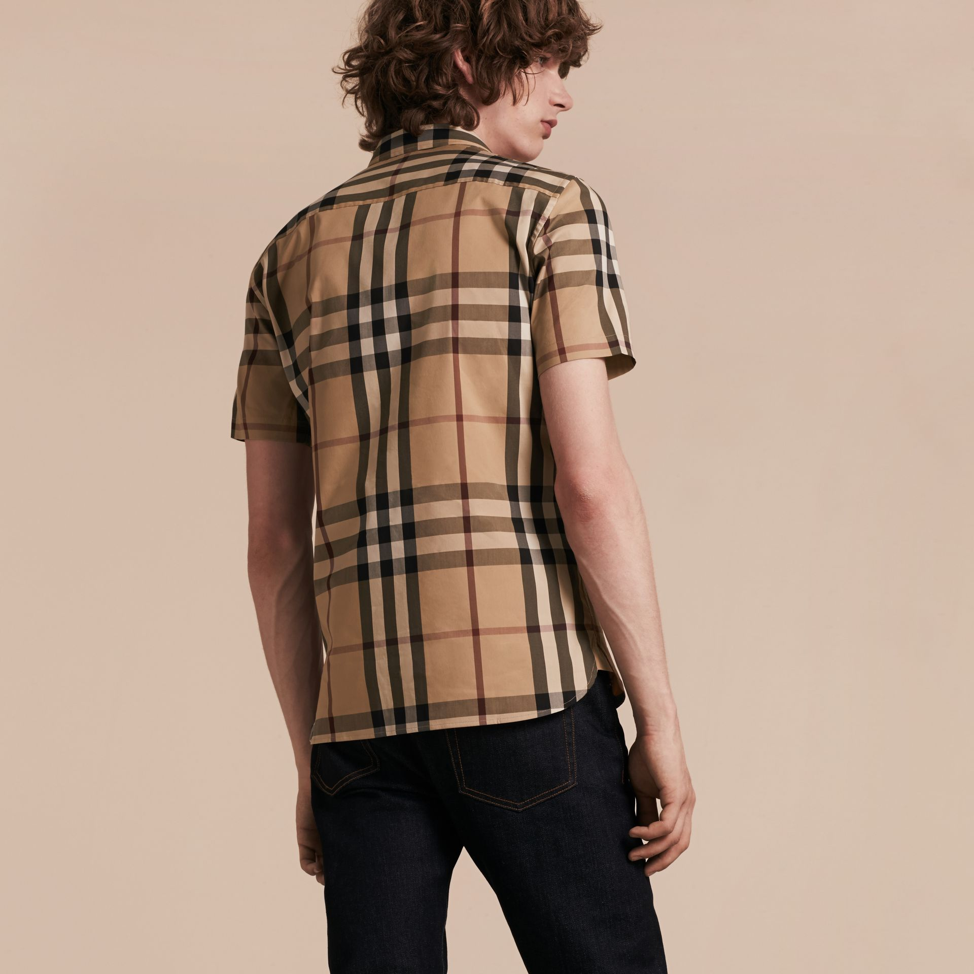 Short-sleeved Check Stretch Cotton Shirt Camel - gallery image 2