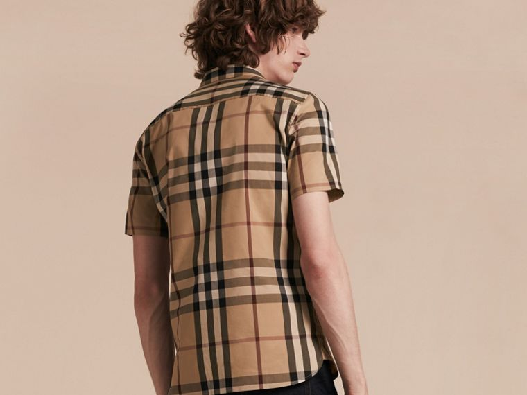 Short-sleeved Check Stretch Cotton Shirt Camel - cell image 1