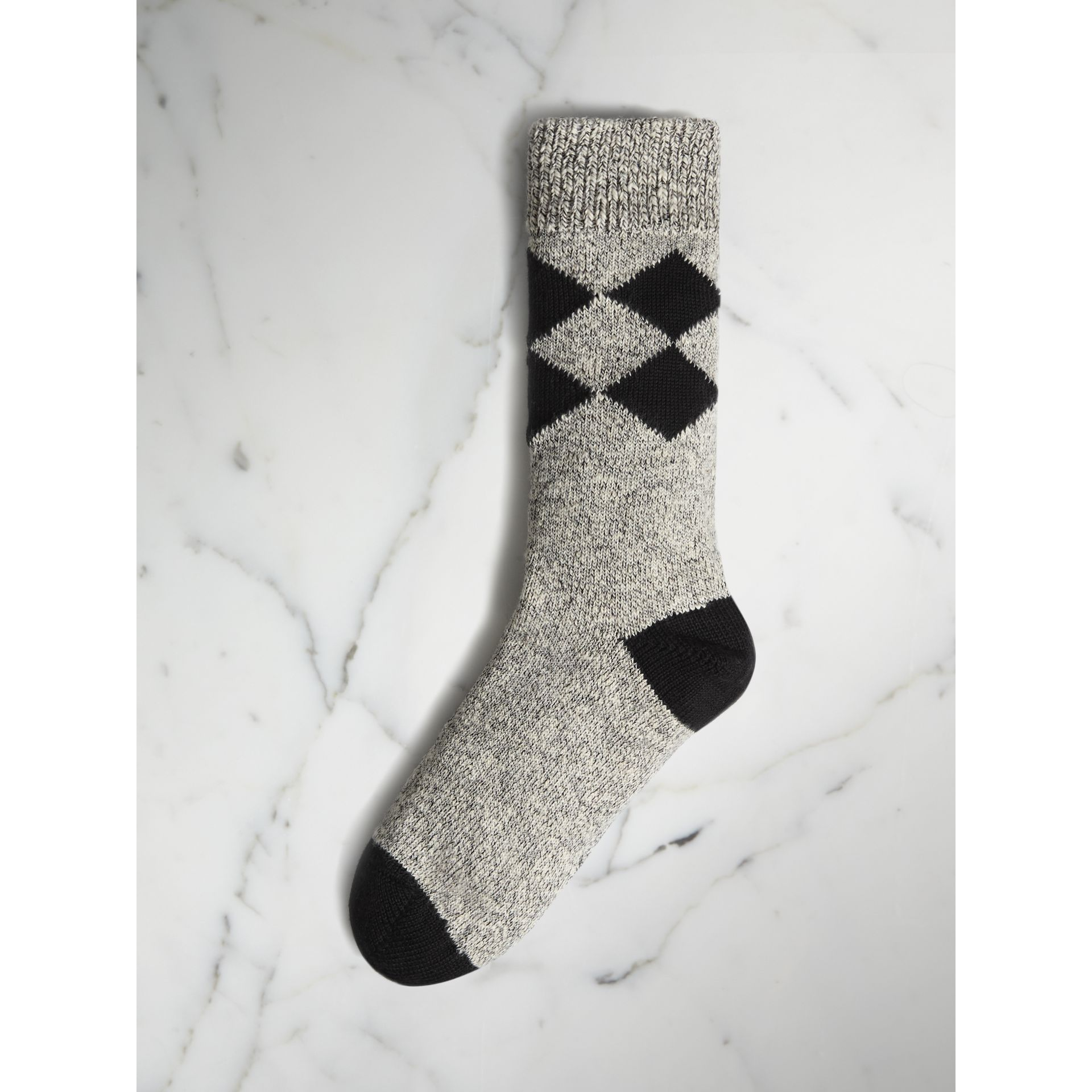 Diamond Knitted Cotton Mouliné Socks in Black | Burberry - gallery image 0