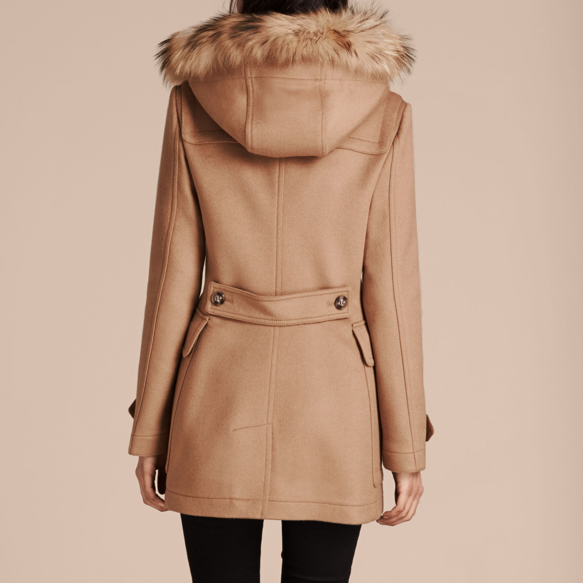 Detachable Fur Trim Wool Duffle Coat Camel - gallery image 2