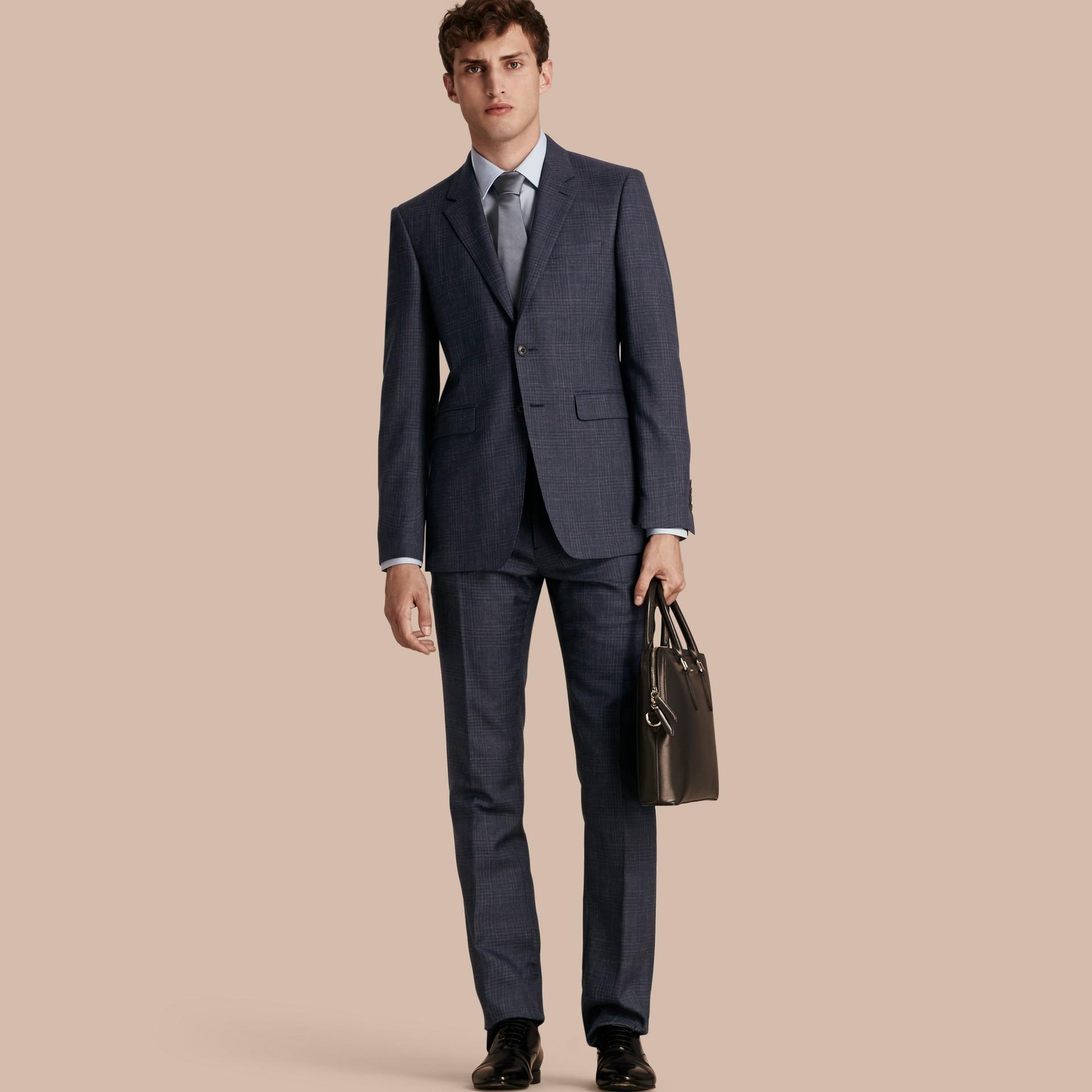 Modern Fit Wool Silk Blend Half-canvas Suit - gallery image 1