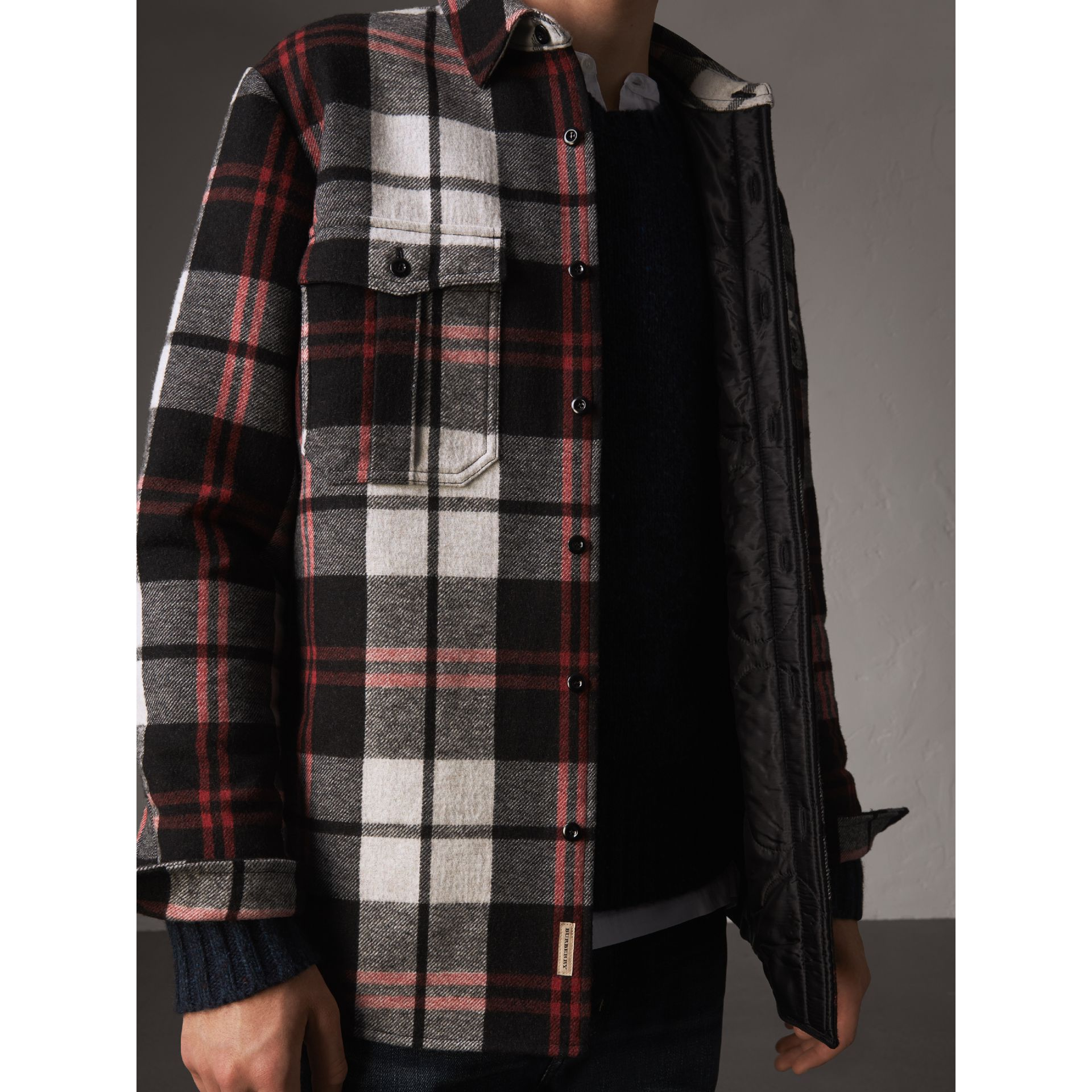 Quilt-lined Check Wool Cotton Blend Flannel Shirt in Black - Men | Burberry Canada - gallery image 4