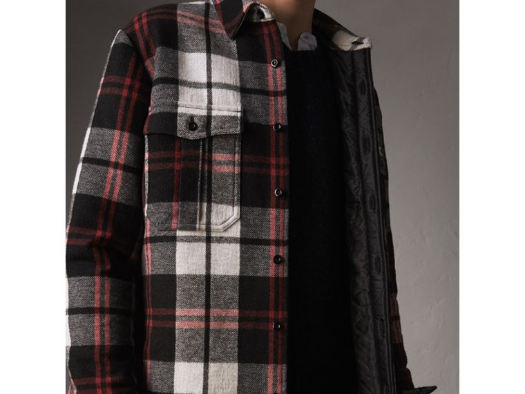 Quilt-lined Check Wool Cotton Blend Flannel Shirt in Black - Men | Burberry - cell image 4