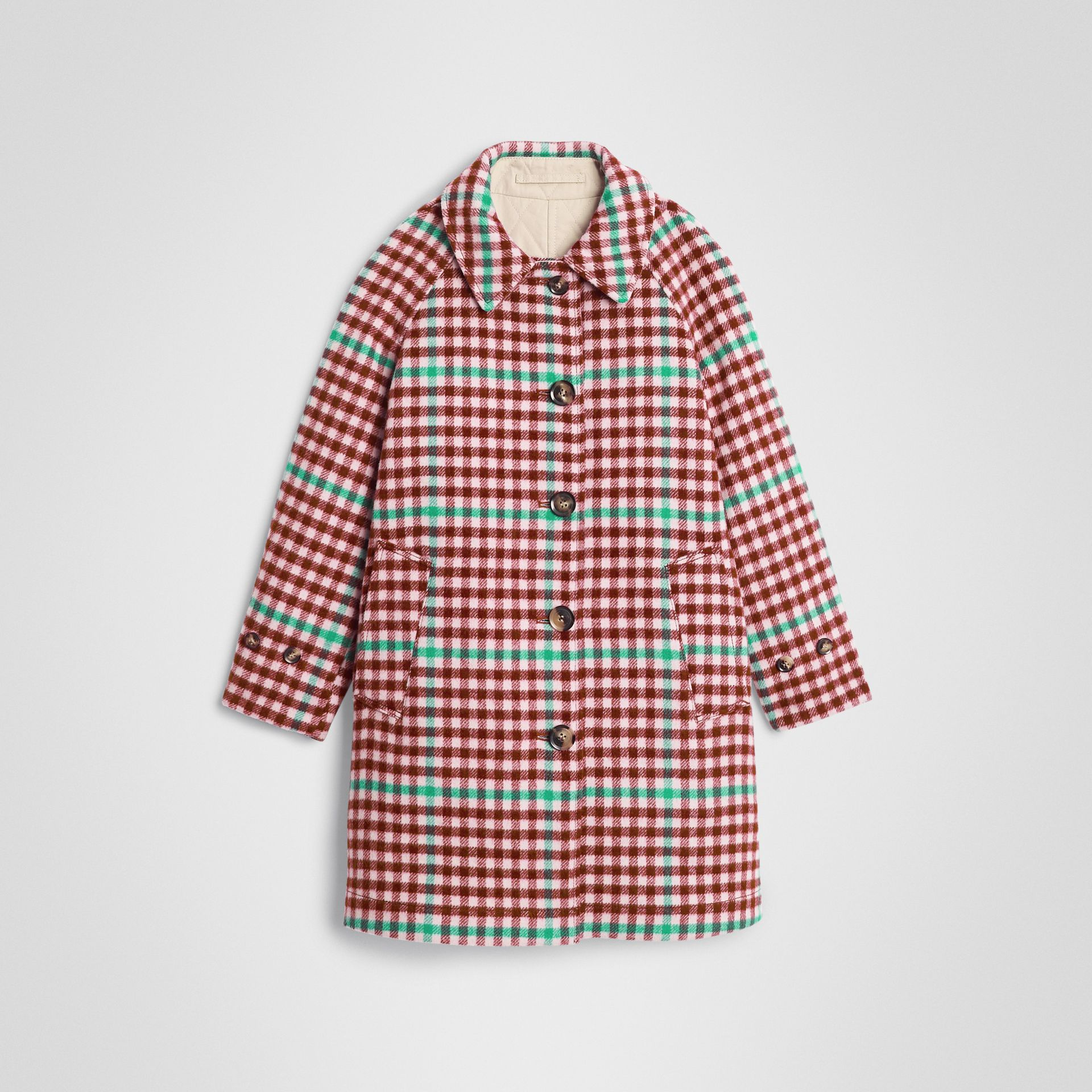 Reversible Check Wool and Cotton Car Coat in Garnet Pink | Burberry - gallery image 0