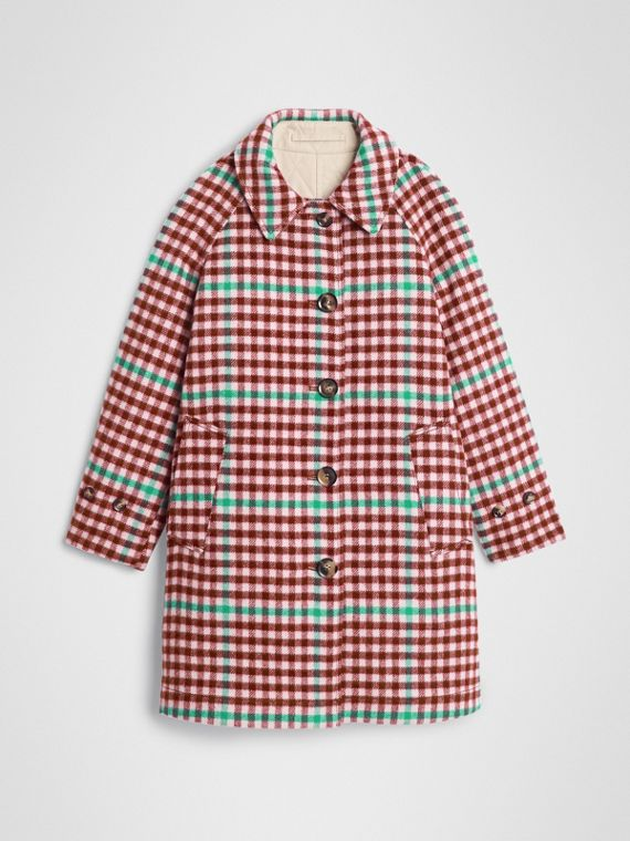 Reversible Check Wool and Cotton Car Coat in Garnet Pink