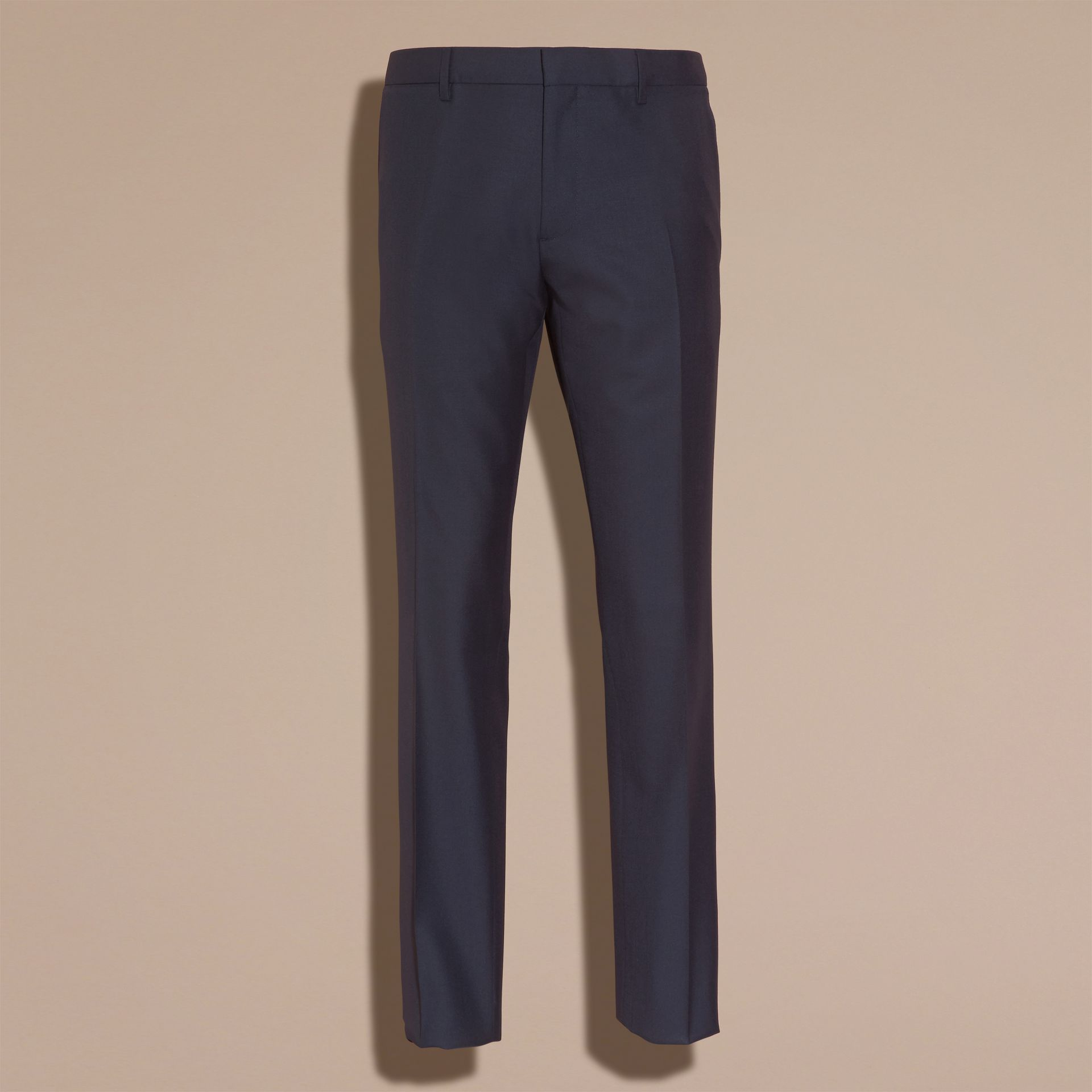 Navy Modern Fit Wool Part-canvas Suit Navy - gallery image 10