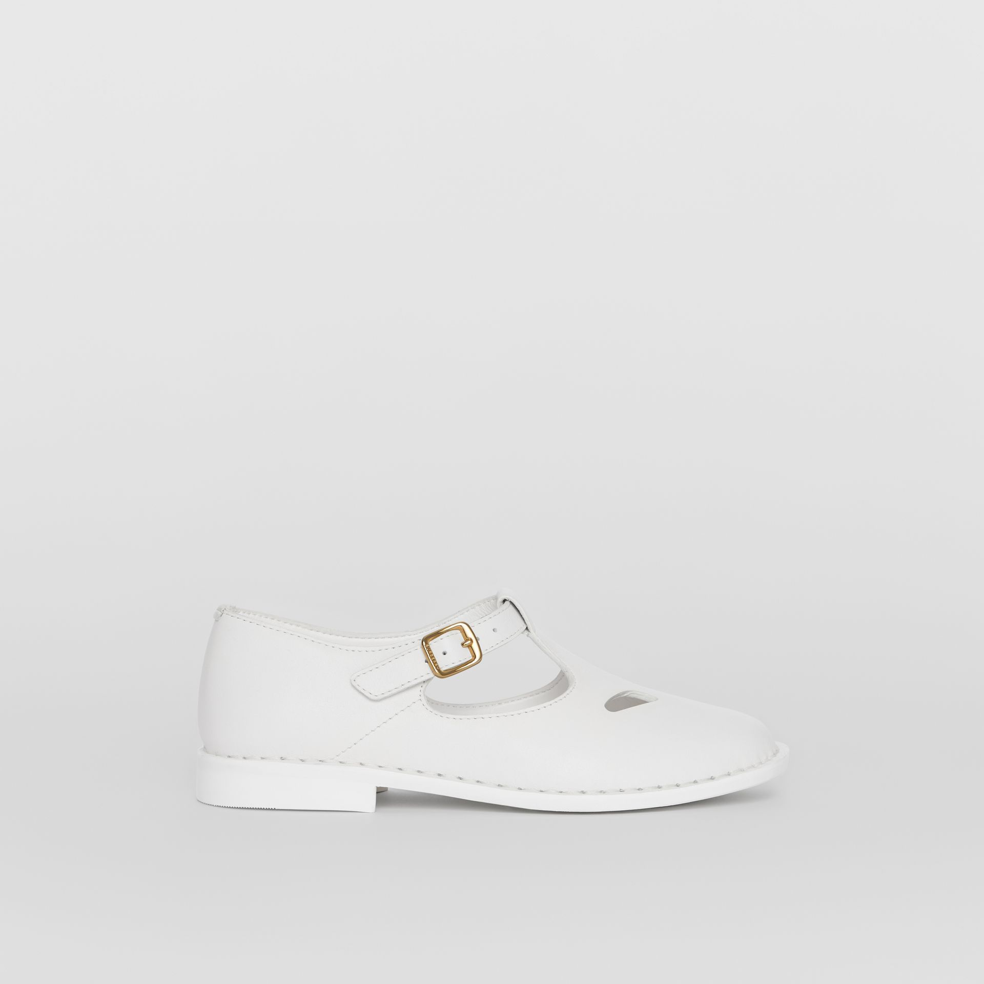 Leather T-bar Shoes in Optic White | Burberry - gallery image 3
