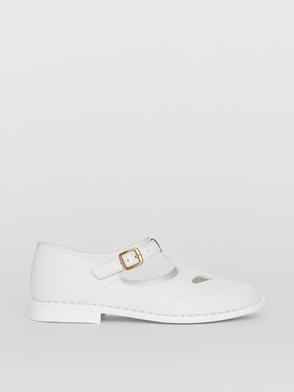Leather T-bar Shoes in Optic White - Children | Burberry - cell image 3