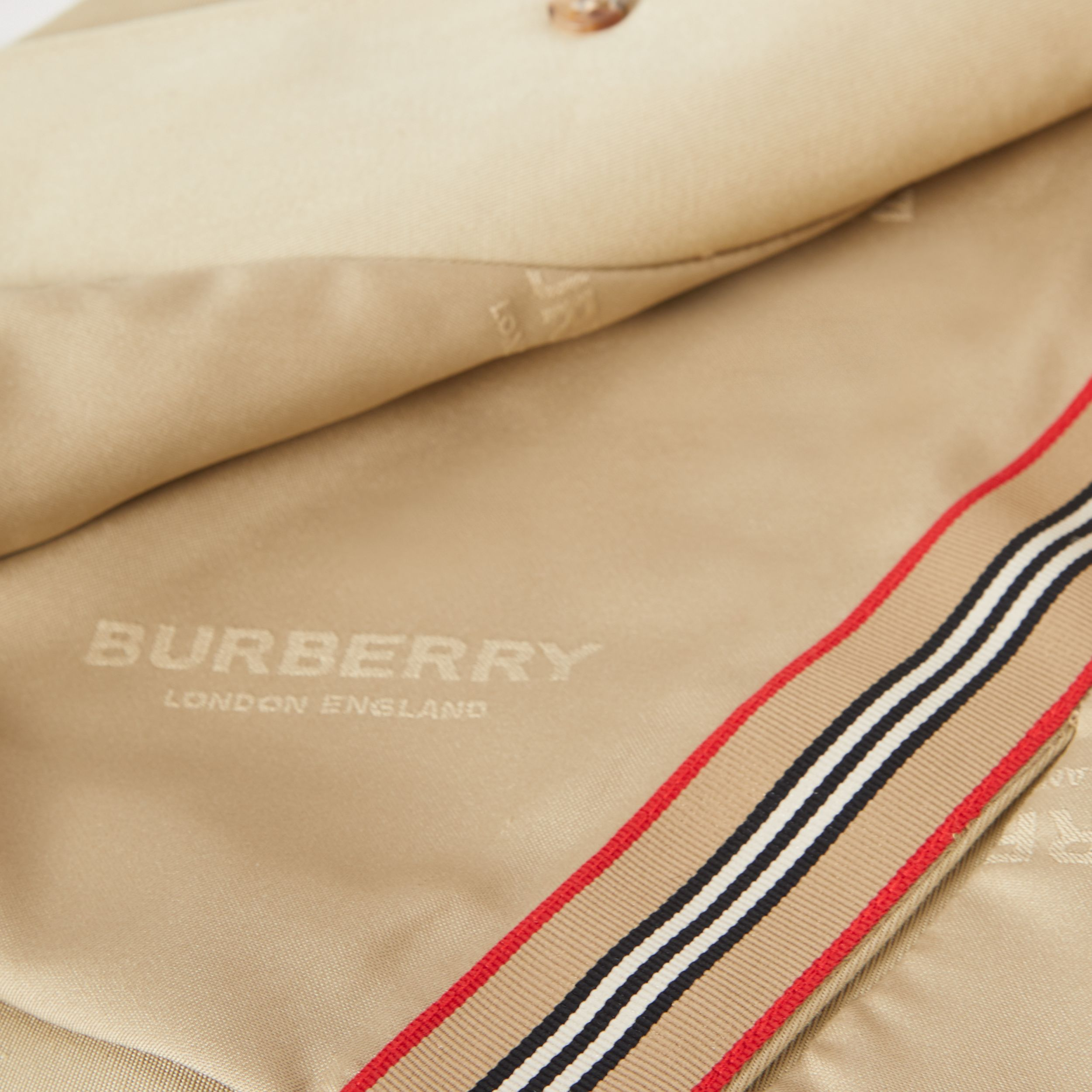 Detachable Hood Icon Stripe Trim Cotton Car Coat in Honey - Children | Burberry - 2