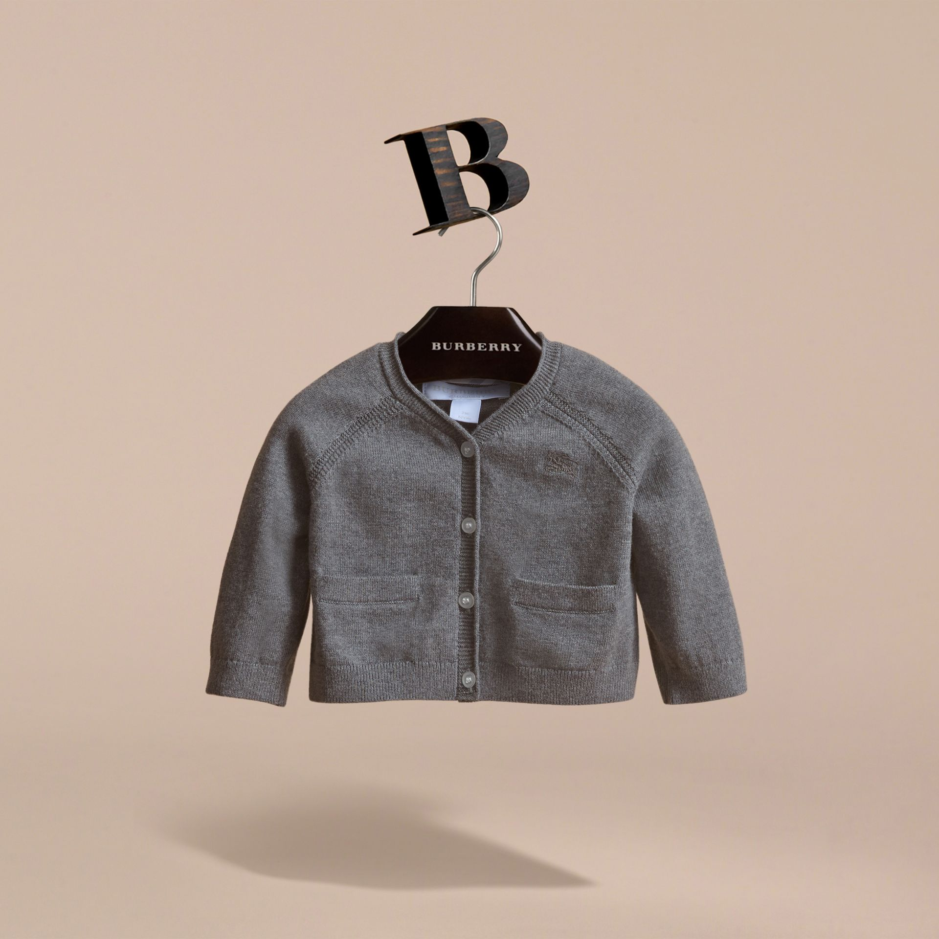 Knitted Cotton Cardigan in Mid Grey Melange | Burberry - gallery image 2