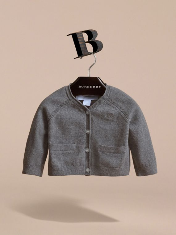 Knitted Cotton Cardigan in Mid Grey Melange | Burberry - cell image 2