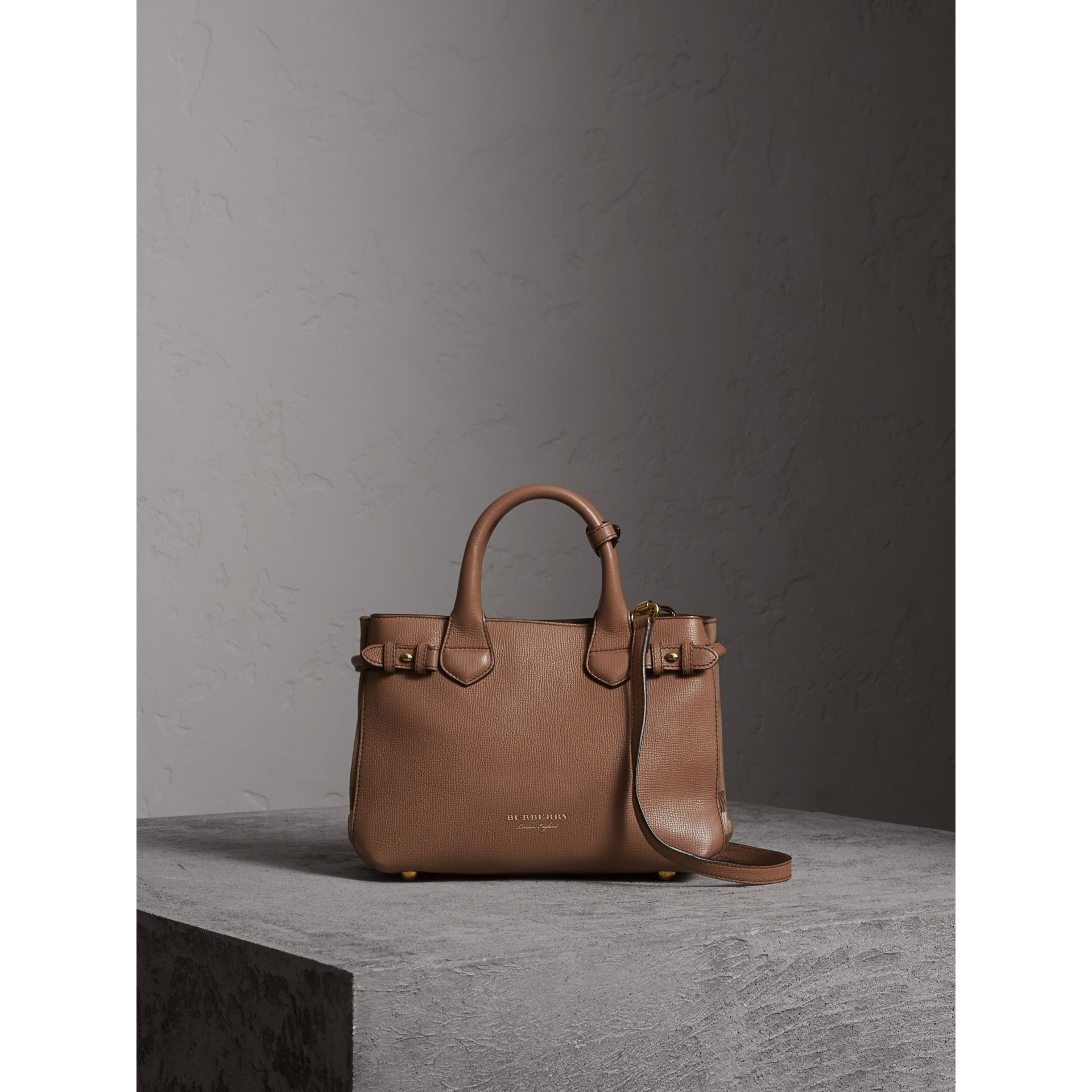 The Small Banner in Leather and House Check in Dark Sand - Women | Burberry - gallery image 8