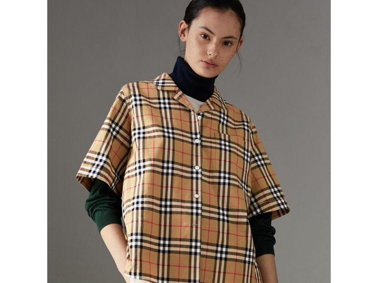 Short-sleeve Vintage Check Shirt in Antique Yellow - Women | Burberry Australia - cell image 4