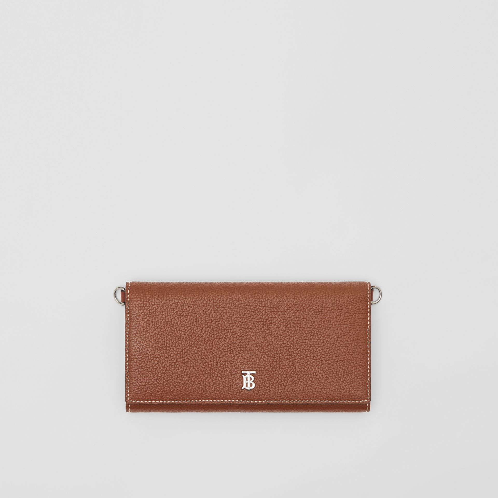 Grainy Leather Wallet with Detachable Strap in Tan | Burberry - gallery image 10
