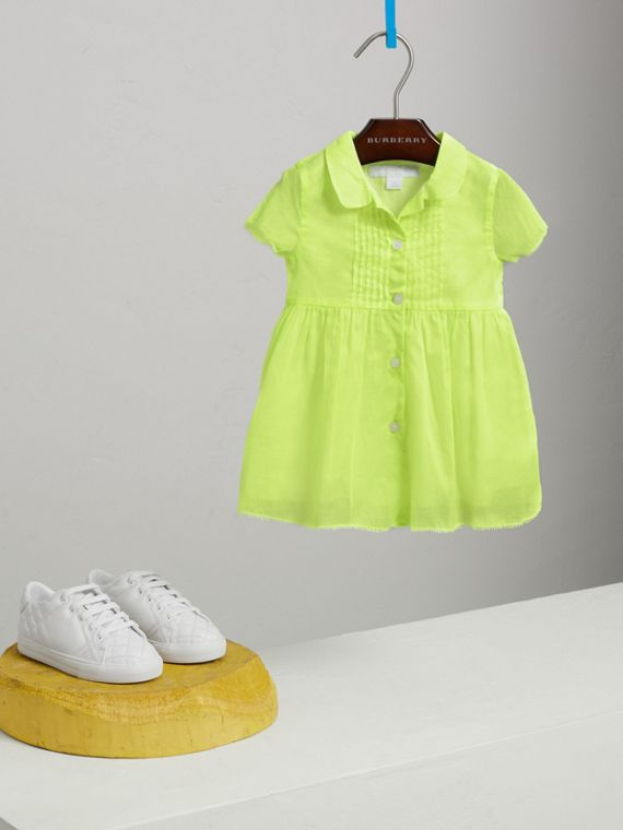 Pintuck Detail Cotton Voile Dress in Neon Yellow