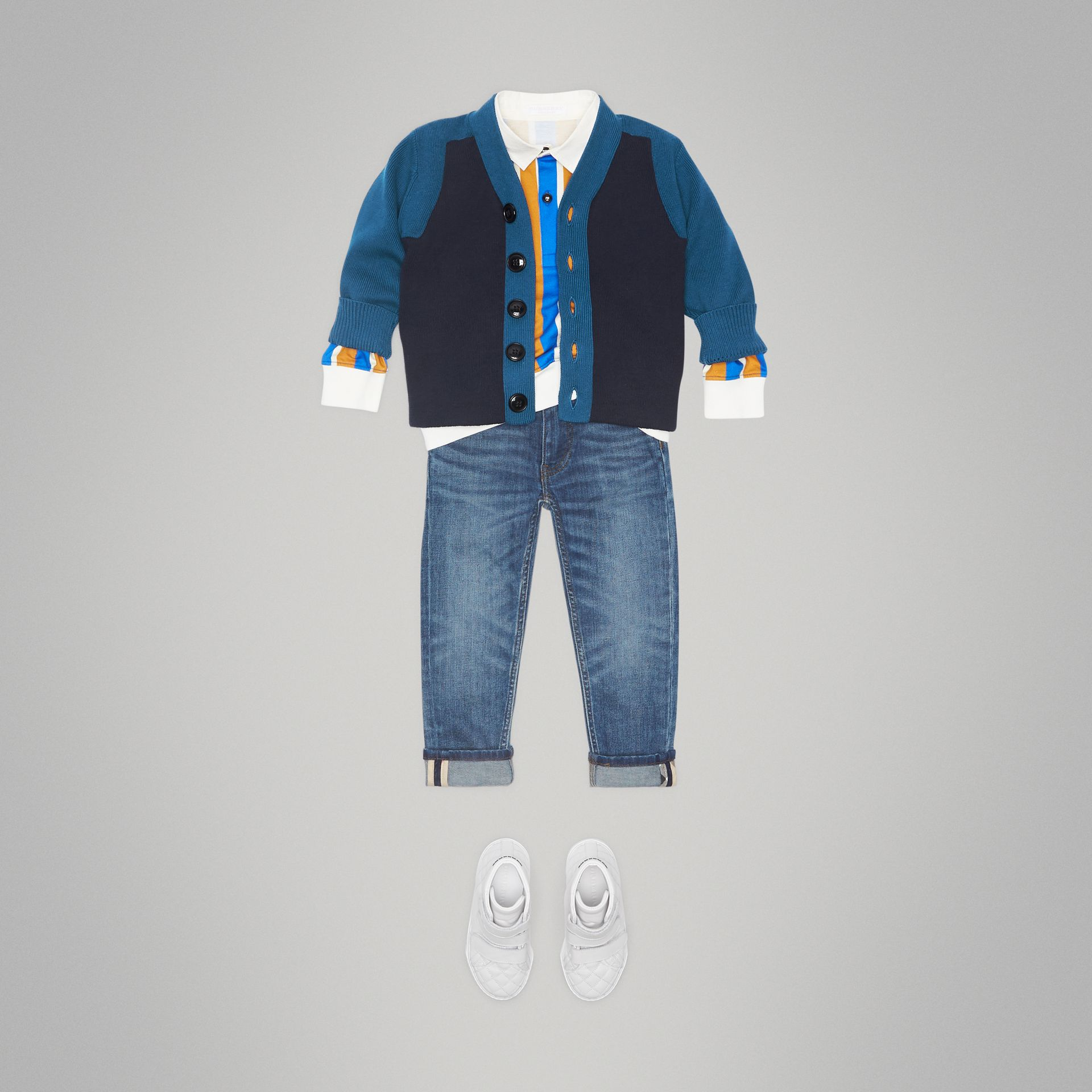 Colour Block Cotton Cardigan in Navy - Boy | Burberry - gallery image 2
