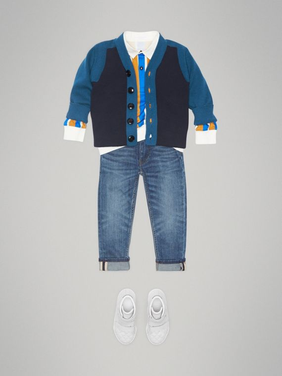 Colour Block Cotton Cardigan in Navy - Boy | Burberry - cell image 2