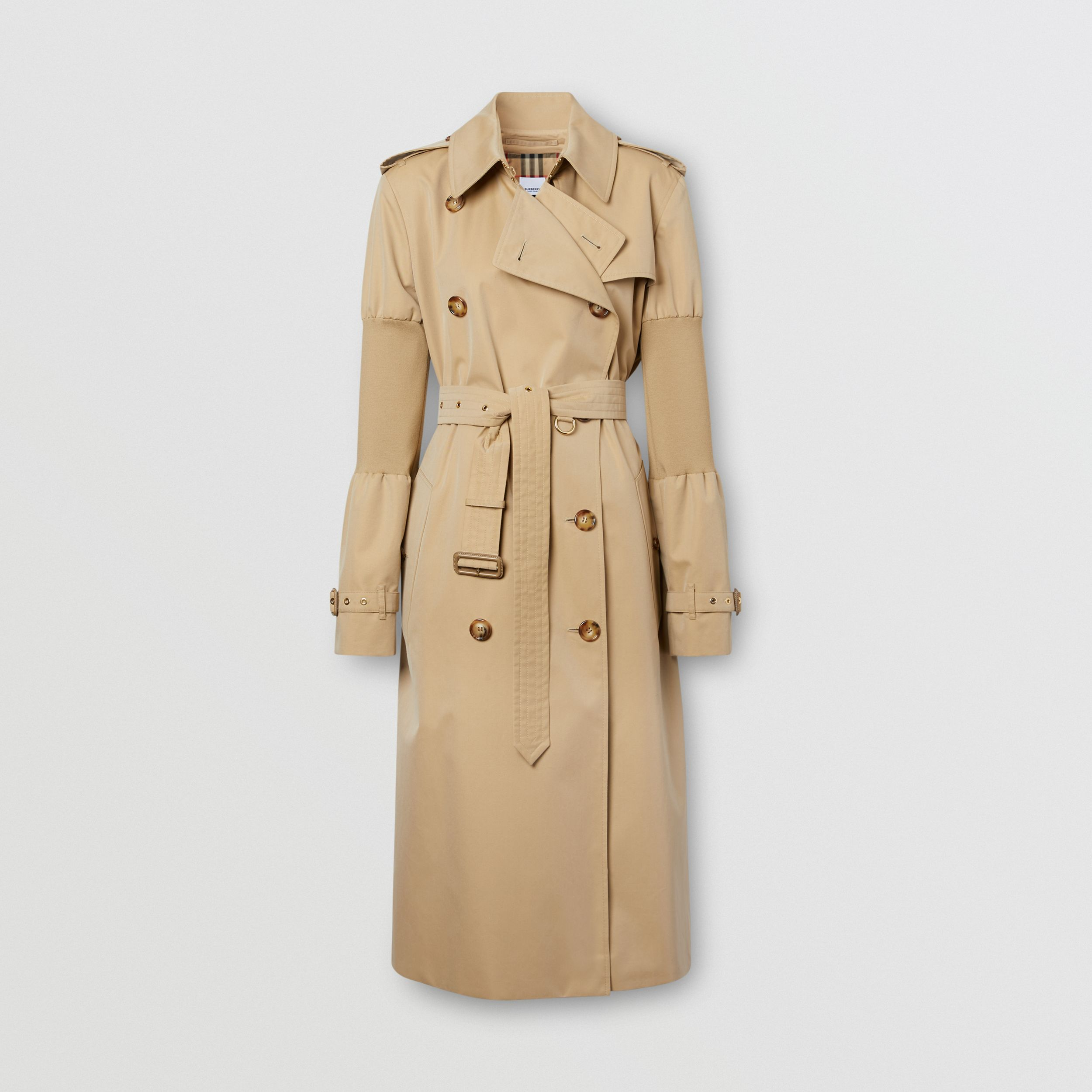 Panelled-sleeve Cotton Gabardine Oversized Trench Coat in Honey - Women | Burberry - 4
