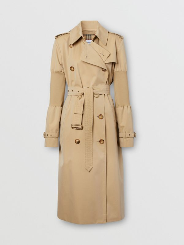 Panelled-sleeve Cotton Gabardine Oversized Trench Coat in Honey - Women | Burberry United Kingdom - cell image 3