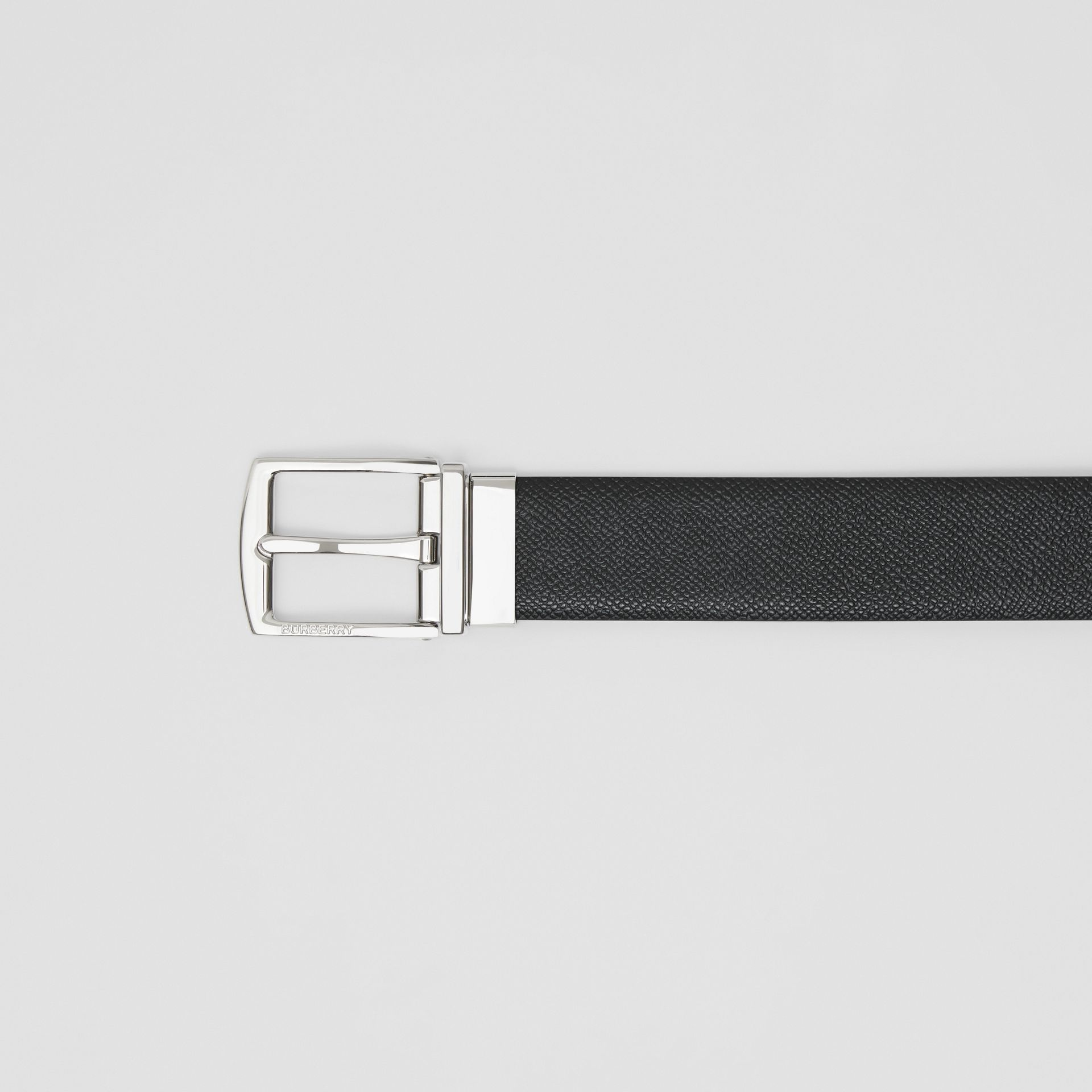 Reversible Grainy Leather Belt in Black/navy - Men | Burberry Canada - gallery image 1