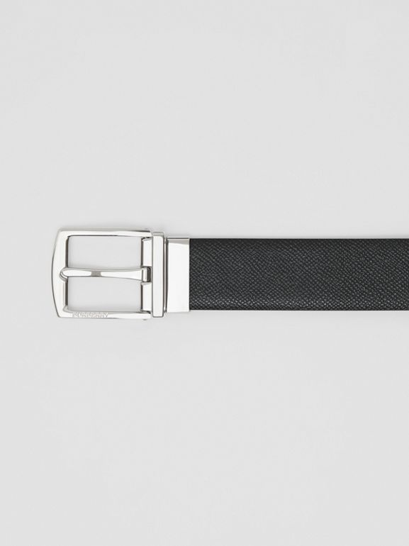 Reversible Grainy Leather Belt in Black/navy - Men | Burberry - cell image 1