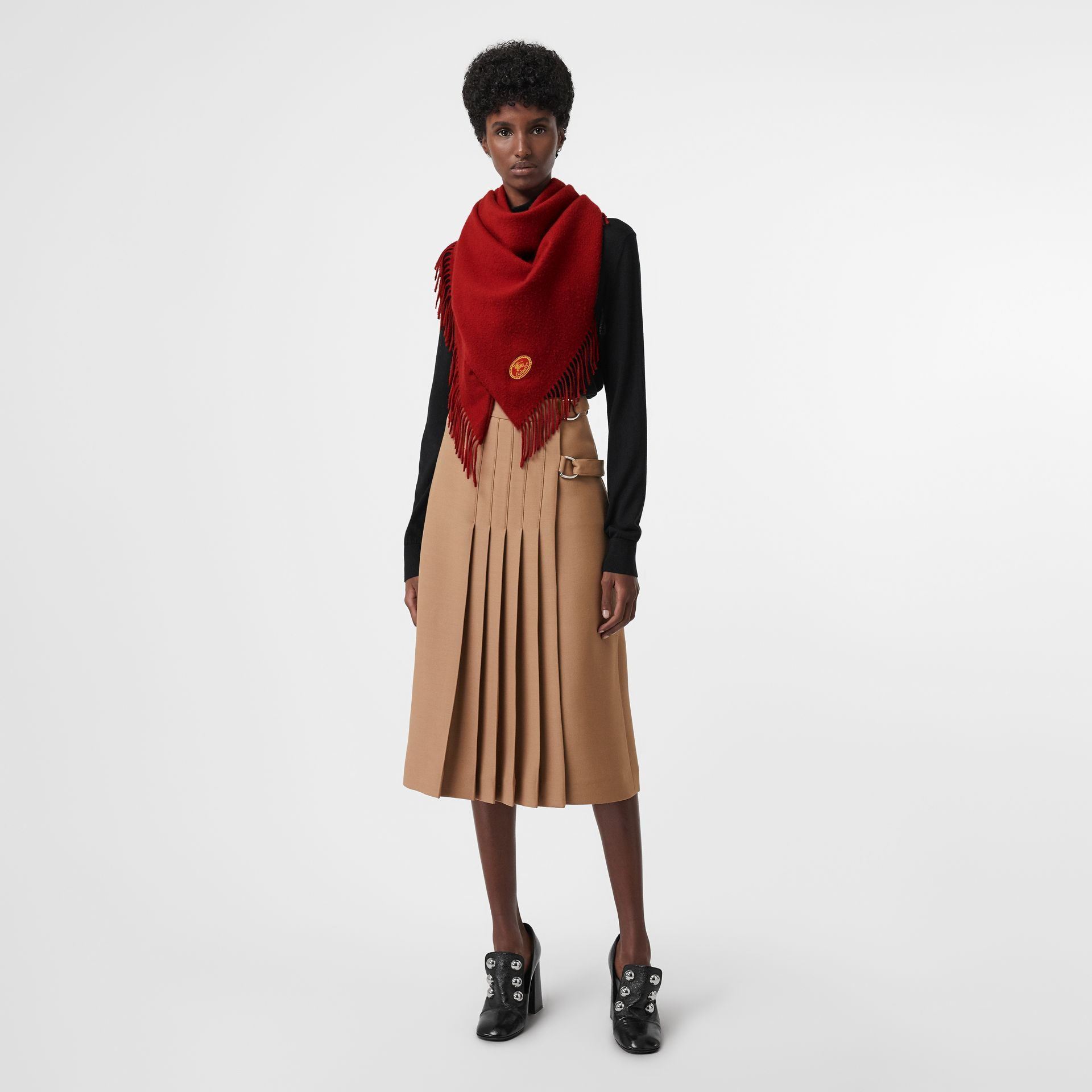 The Burberry Bandana in Embroidered Cashmere in Parade Red | Burberry Australia - gallery image 2