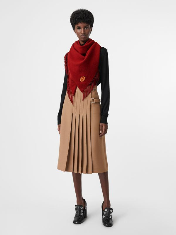 The Burberry Bandana in Embroidered Cashmere in Parade Red | Burberry Australia - cell image 2