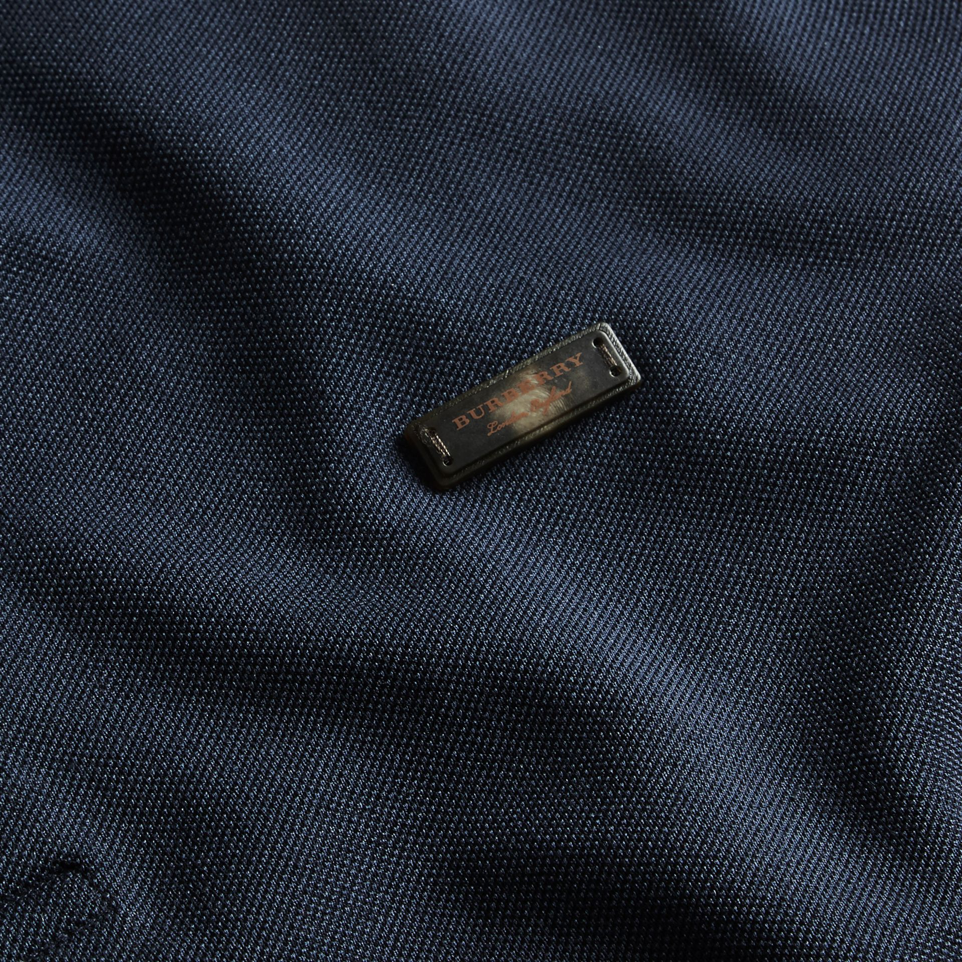 Navy Long-sleeved Tipped Cotton Piqué Polo Shirt Navy - gallery image 2