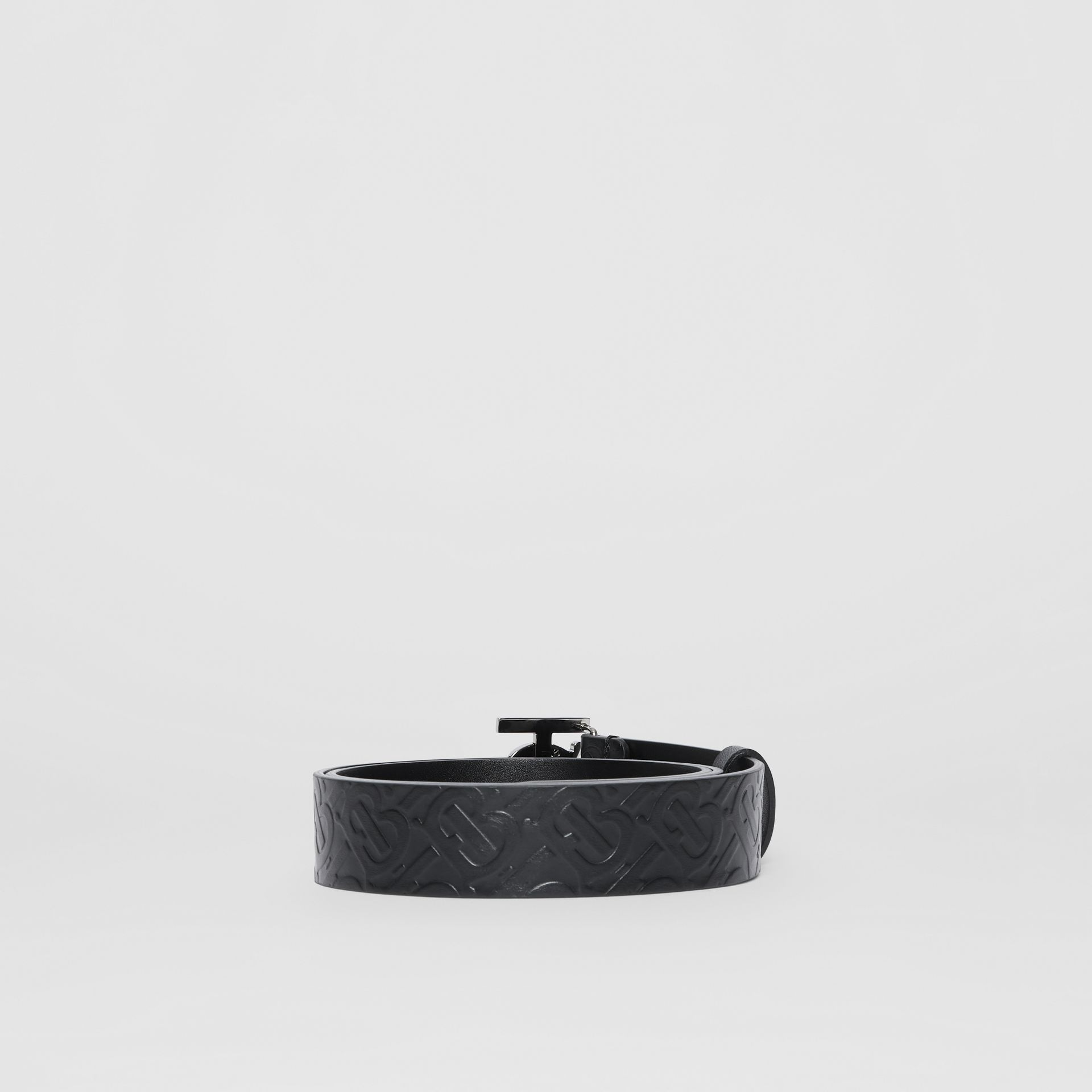Monogram Motif Monogram Leather Belt in Black - Men | Burberry - gallery image 4