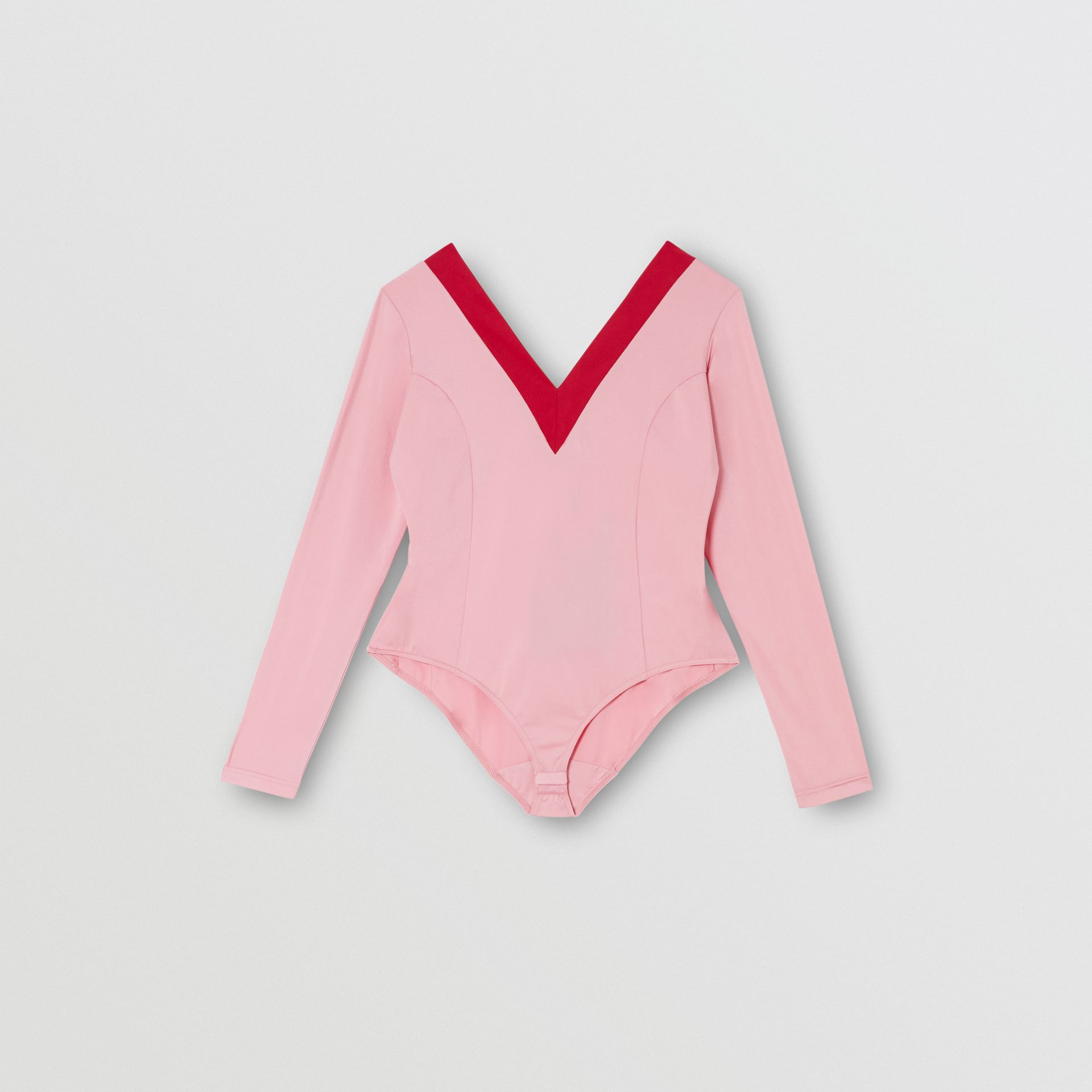 Two-tone Stretch Jersey Bodysuit in Pink - Women | Burberry - gallery image 2