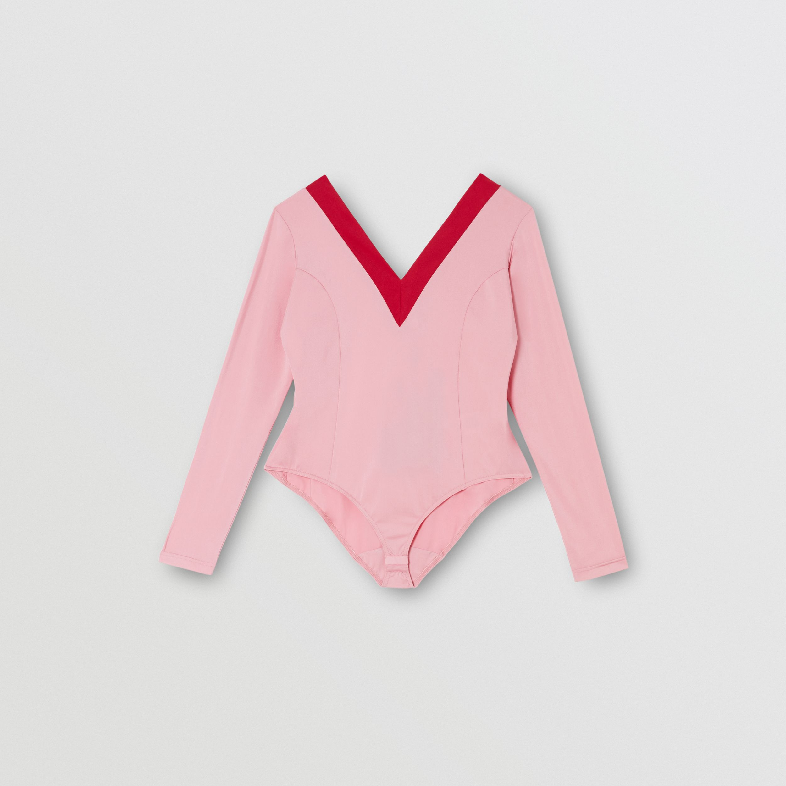 Two-tone Stretch Jersey Bodysuit in Pink - Women | Burberry - 3