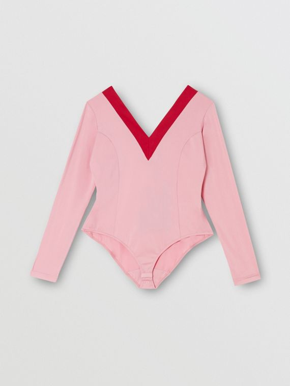 Two-tone Stretch Jersey Bodysuit in Pink