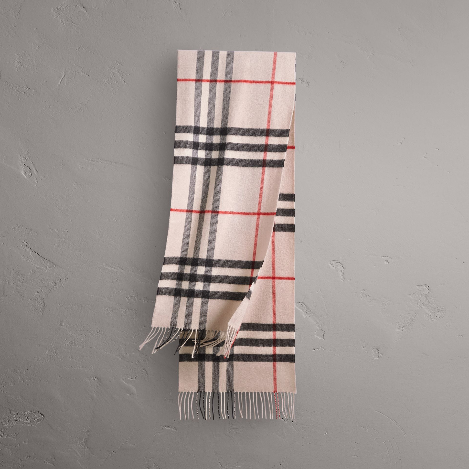 The Classic Check Cashmere Scarf in Stone | Burberry Singapore - gallery image 0