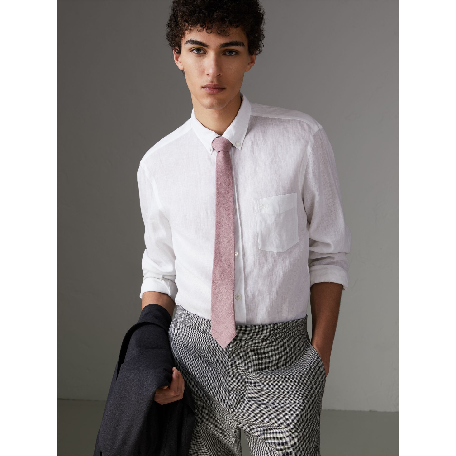 Slim Cut Linen Tie in Pink Heather - Men | Burberry - gallery image 2