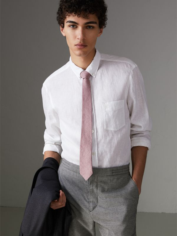 Slim Cut Linen Tie in Pink Heather - Men | Burberry - cell image 2